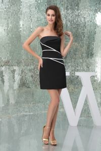 Satin Black Strapless Kamloops Cocktail Dress with White Streak