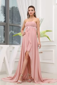 Ruching High-low Sash Light Pink Cocktail Dresses with Brush Train