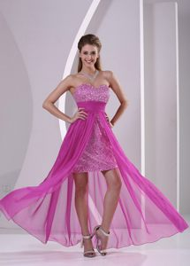 High-low Paillette Fuchsia Ruched Cocktail Dress in Gold Coast QLD