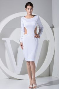 Scoop Backless Long Sleeves Satin White Caloundra Cocktail Dress