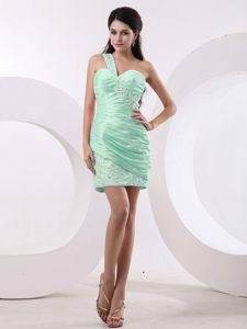 Beaded Apple Green One Shoulder Ruched Taffeta Cocktail Dress