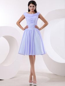 Bateau Lilac Ruched Chiffon Newcastle Prom Cocktail Dress 2014