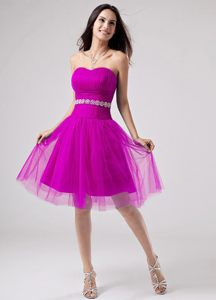 Fushcia Beading Strapless Tulle Barrie Ontario Cocktail Dress