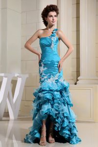 High-low Teal Appliques Ruffled Layers One Shoulder Cocktail Dress