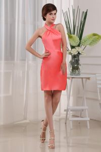 Burlington Ontario Taffeta Halter Cocktail Dresses in Coral Red