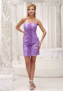 Lavender Ruched Chiffon Lace Back Cocktail Dress in Richmond Hill