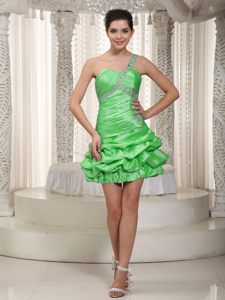 Green One Shoulder Taffeta Beaded Cocktail Dresses with Pick-ups