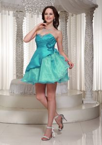 Flowers Ruched Turquoise Organza Beading Albury Cocktail Dress