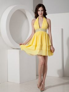 Yellow Halter Chiffon Beading Tiered Kitchener Cocktail Dresses