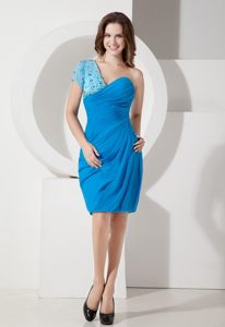 Blue Beaded One Shoulder Ruched Cocktail Dress with Short Sleeve