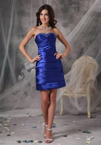 Royal Blue Taffeta Beading Ruched Cocktail Dresses in Vaughan