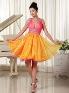 Colored Organza Beaded Homecoming Cocktail Dresses with Straps