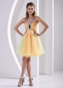 Beaded Straps Colorful Organza Ruched Cute Cocktail Dress 2014