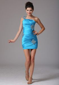 Baby Blue One Shoulder Beading Ruched Cheap Prom Cocktail Dress
