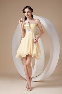 Light Yellow Organza Beaded Belt Ruching Darwin Cocktail Dress