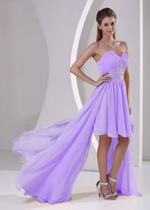 Detachable High-low Beaded Lavender Chiffon Prom Cocktail Dresses