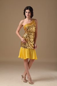 Gold Sequin One Shoulder Beaded Prom Cocktail Dress in Brampton ON