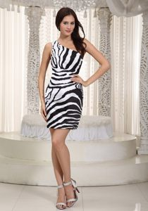 Zebra One Shoulder White and Black New Style Cocktail Party Dress