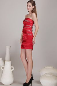 Ruched Beading Red Taffeta Prom Cocktail Dresses in Montreal CA