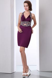 Taffeta Halter Beading Dark Purple Vincennes France Cocktail Dress