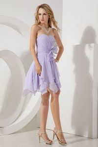 Bowknot Sweetheart Ruching Lilac Cocktail Dresses in Blois France