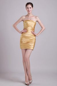Funny Strapless Ruched Taffeta Gold Zipper Up Back Cocktail Gowns