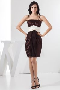 Chocolate Straps Ruched Taffeta Annecy France Cocktail Party Dress