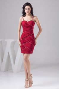 Ruched Straps Beading Dark Red Zipper-up Cocktail Dress for Celebrity
