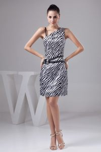 Zebra One Shoulder Beading Side Zipper Back Cocktail Dress for Prom