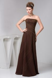 Elegant Strapless Beading Brown Chiffon Laval France Cocktail Dress