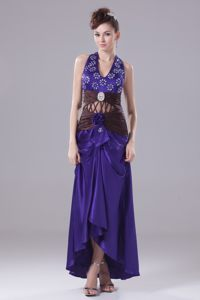 High-low Halter Beading Ruched Bondy France Prom Cocktail Gowns