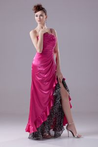 Backless One Shoulder Beads Ruched High-low Hot Pink Cocktail Dress