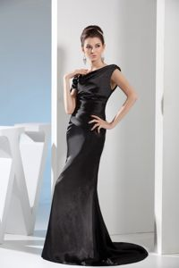 Asymmetrical Neck Brush Train Black Taffeta Mermaid Cocktail Gowns