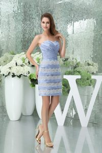 Lace Sweetheart Ruching Mini-length Lilac Wedding Cocktail Party Dress