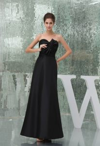 Elegant Sweetheart Bowknot Black Taffeta Ankle-length Cocktail Dress