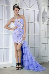 Floral Appliques One Shoulder Beading High-low Lilac Cocktail Dresses