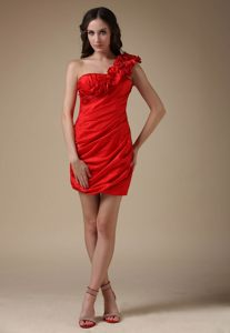 Hand Made Flower One Shoulder Ruched Red Short Cocktail Dresses