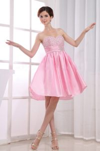 Pink Sweetheart Beading Taffeta Knee-length Formal Cocktail Gowns