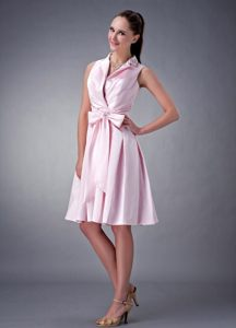 V-neck Ruche Bowknot Baby Pink Satin Quimper France Cocktail Gown