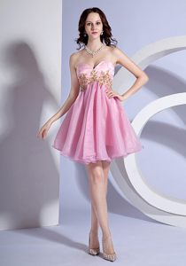 Appliques Sweetheart Pink Organza Cocktail Dresses in Drancy France