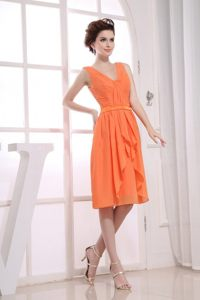 Sash V-neck Ruching Orange Chiffon Cocktail Dress in Bourges France