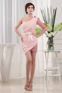 Single Sleeve One Shoulder Ruched Sash Baby Pink Cocktail Dresses