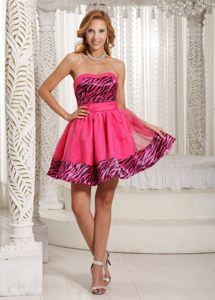 Zebra Sweetheart Coral Red Mini-length Antibes France Cocktail Dress