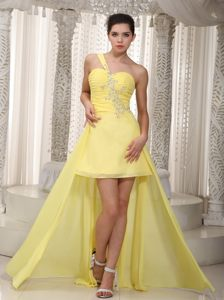 Ruches One Shoulder Beading Yellow Chiffon High-low Cocktail Gown