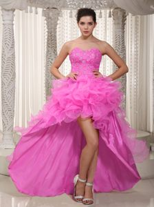 Beading Sweetheart Ruffled High-low Fuchsia Formal Cocktail Dresses