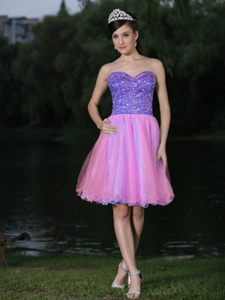 Beaded Bodice Sweetheart Colorful Cocktail Dress in Perpignan France