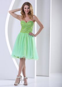 2013 Knee-length Sweetheart Beading Yellow Green Cocktail Gowns