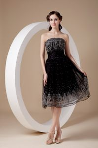 Embroidery Strapless Black Organza Tea-length Rouen Cocktail Dress