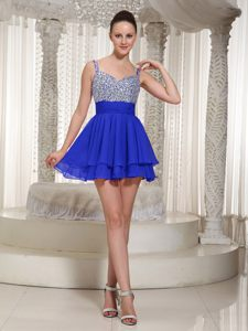 Cheap Straps Beading Royal Blue Layers Tours France Cocktail Dress