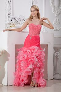 Mermaid Sweetheart Beading Ruffled High-low Cocktail Dress for Prom